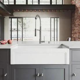 sink kitchen cabinets lowes cabinet doors sinks at com vigo matte stone farmhouse 36 in x 18 white single basin