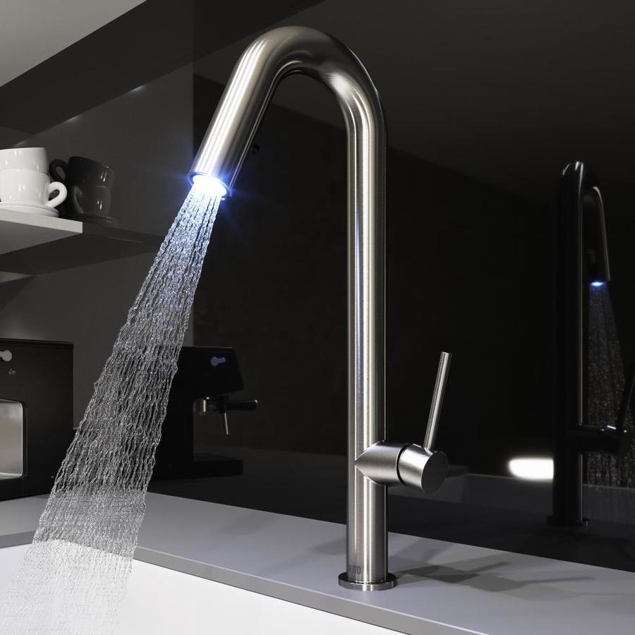 vigo kitchen faucet islands at home depot oakhurst stainless steel 1 handle deck mount pull down