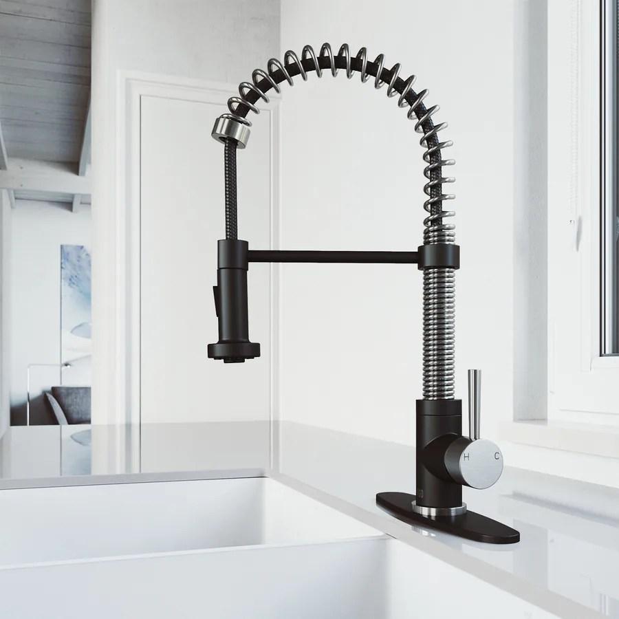 vigo edison stainless steel matte black 1 handle deck mount pull down handle kitchen faucet deck plate included