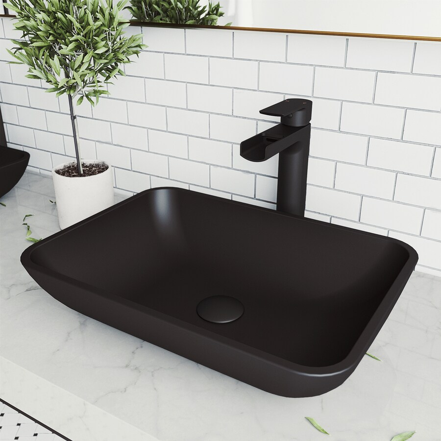 vigo sottile matteshell glass vessel rectangular bathroom sink with faucet drain included 18 in x 13 in