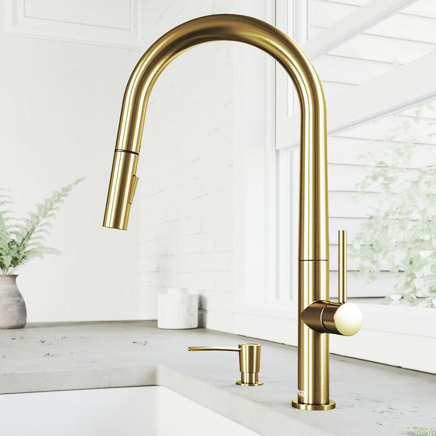 vigo greenwich matte gold 1 handle deck mount pull down handle kitchen faucet