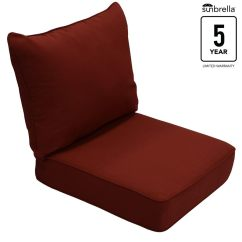 Beach Chair Pillow With Strap Cover And Table Linen Hire Patio Furniture Cushions At Lowes Com Allen Roth Sunbrella 2 Piece Canvas Chili Deep Seat Cushion