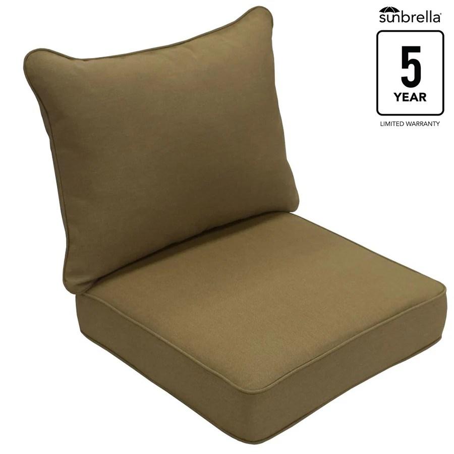 kitchen chair seat replacement 42 inch cabinets shop allen + roth sunbrella 2-piece sailcloth sisal deep ...