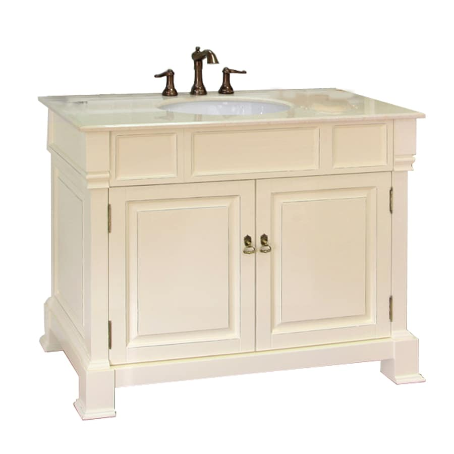 Bellaterra Home 42in Cream White Rub Edge Single Sink