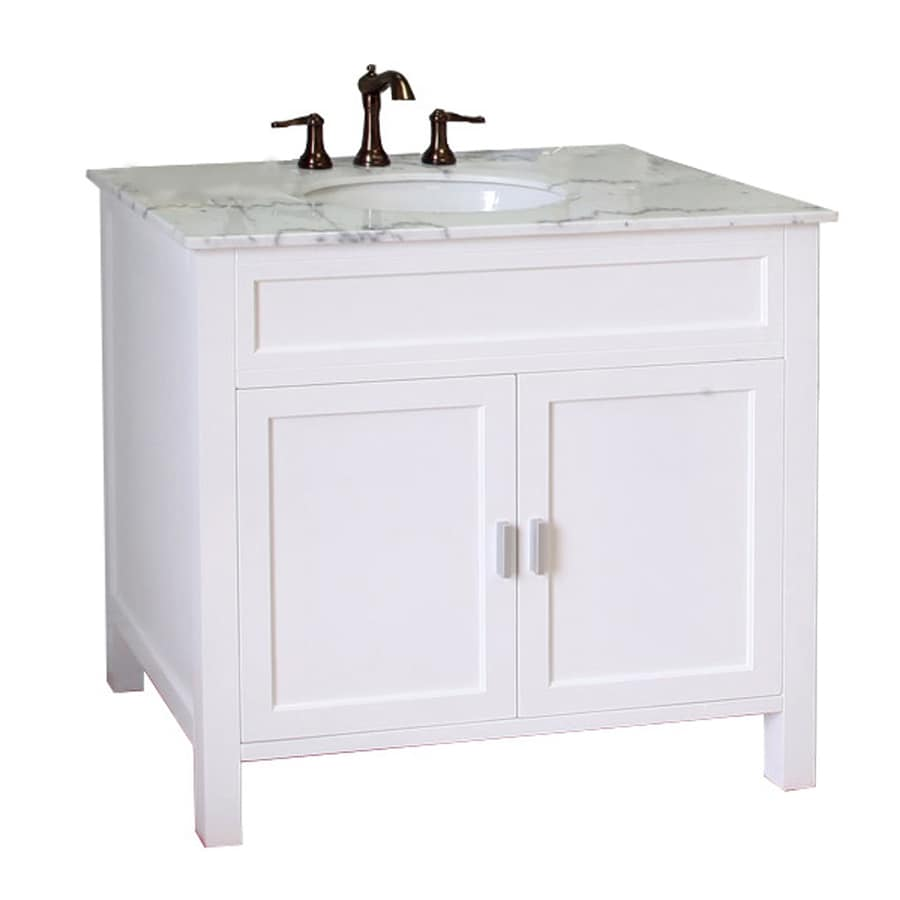 Bellaterra Home 36in White Single Sink Bathroom Vanity with White Natural Marble Top at Lowescom