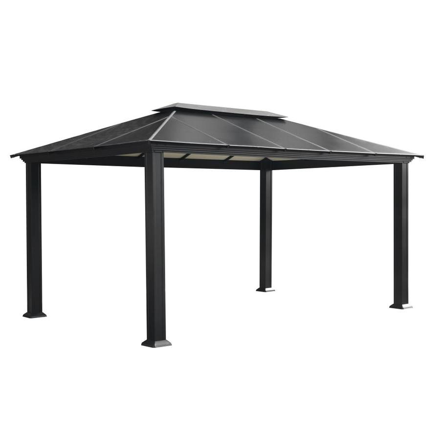 paragon outdoor black metal rectangle semi permanent gazebo with aluminum roof exterior 15 9 ft x 10 8 ft foundation 10 ft x 15 1 ft