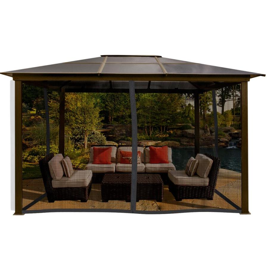 paragon outdoor brown metal rectangle gazebo with aluminum roof exterior 13 2 ft x 9 11 ft foundation 8 11 ft x 11 11 ft