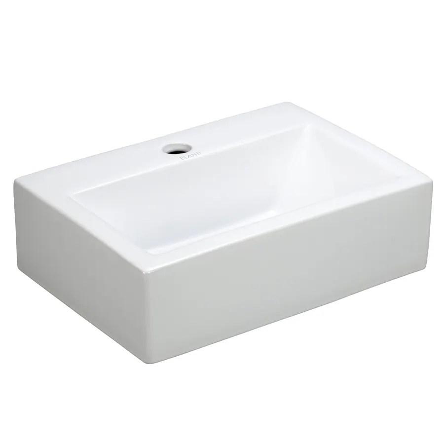 Elanti White WallMount Rectangular Bathroom Sink at Lowescom