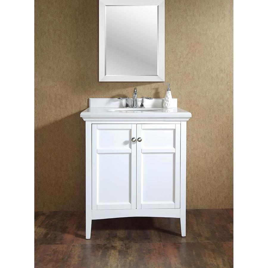 OVE Decors Campo 30in Pure White Single Sink Bathroom Vanity with White Cultured Marble Top at