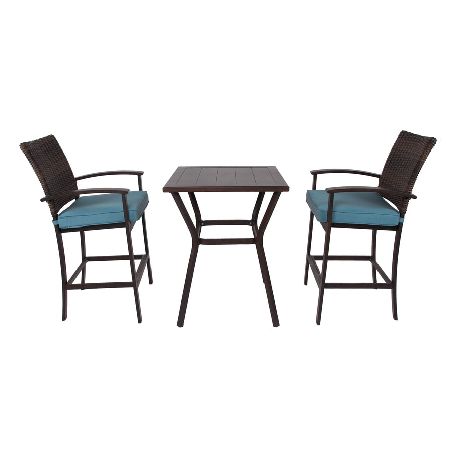 allen roth atworth 3 piece brown frame bistro patio set with peacock blue cushion s included bistro lowes com