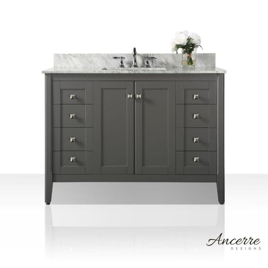 Ancerre Designs Shelton 48in Sapphire Gray Single Sink Bathroom Vanity with White Natural