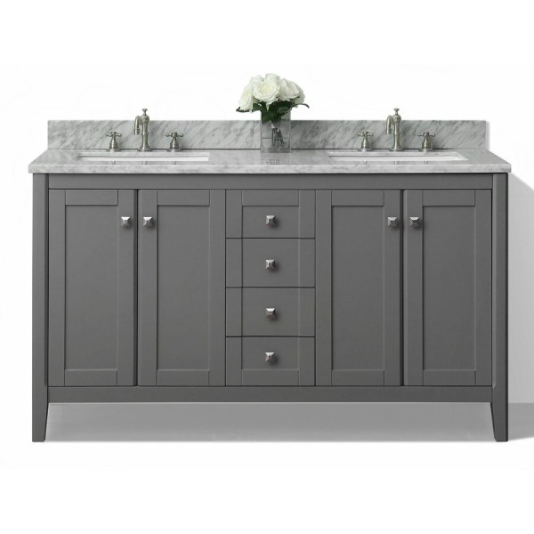 gray double sink bathroom vanity Shop Ancerre Designs Shelton Sapphire gray Double Sink Vanity with White Natural Marble Top