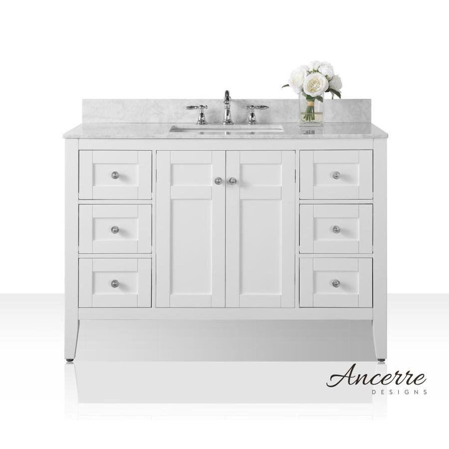 Ancerre Designs Maili 48in White Single Sink Bathroom Vanity with White Natural Marble Top at