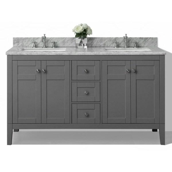gray double sink bathroom vanity Shop Ancerre Designs Maili Sapphire Gray Undermount Double Sink Bathroom Vanity with Natural