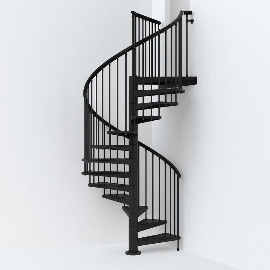 Arke Sky030 63 In X 10 Ft Black Spiral Staircase Kit In The | Outdoor Spiral Staircase Near Me | Staircase Ideas | Staircase Kits | Balcony Railing | Oak70 Xtra | Wrought Iron