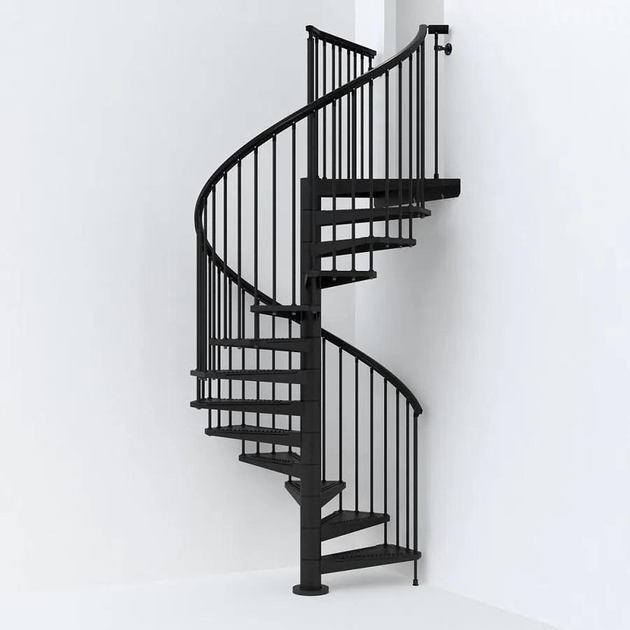 Arke Sky030 63 In X 10 Ft Black Spiral Staircase Kit In The | 10 Ft Spiral Staircase | Handrail | 36 Tall | Arke Phoenix | Stair Kit | Arke Enduro