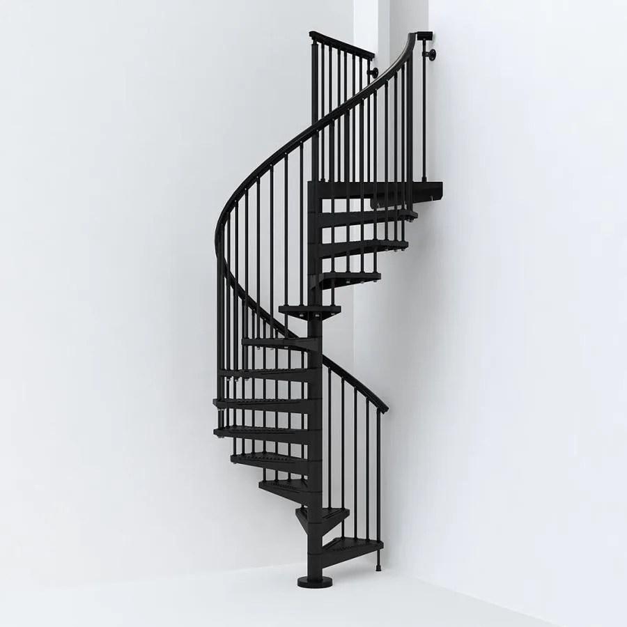 Arke Sky030 55 In X 10 Ft Black Spiral Staircase Kit In The | 12 Foot Spiral Staircase | Lowes | Stair Treads | Black Spiral | Steel | Gray Interior