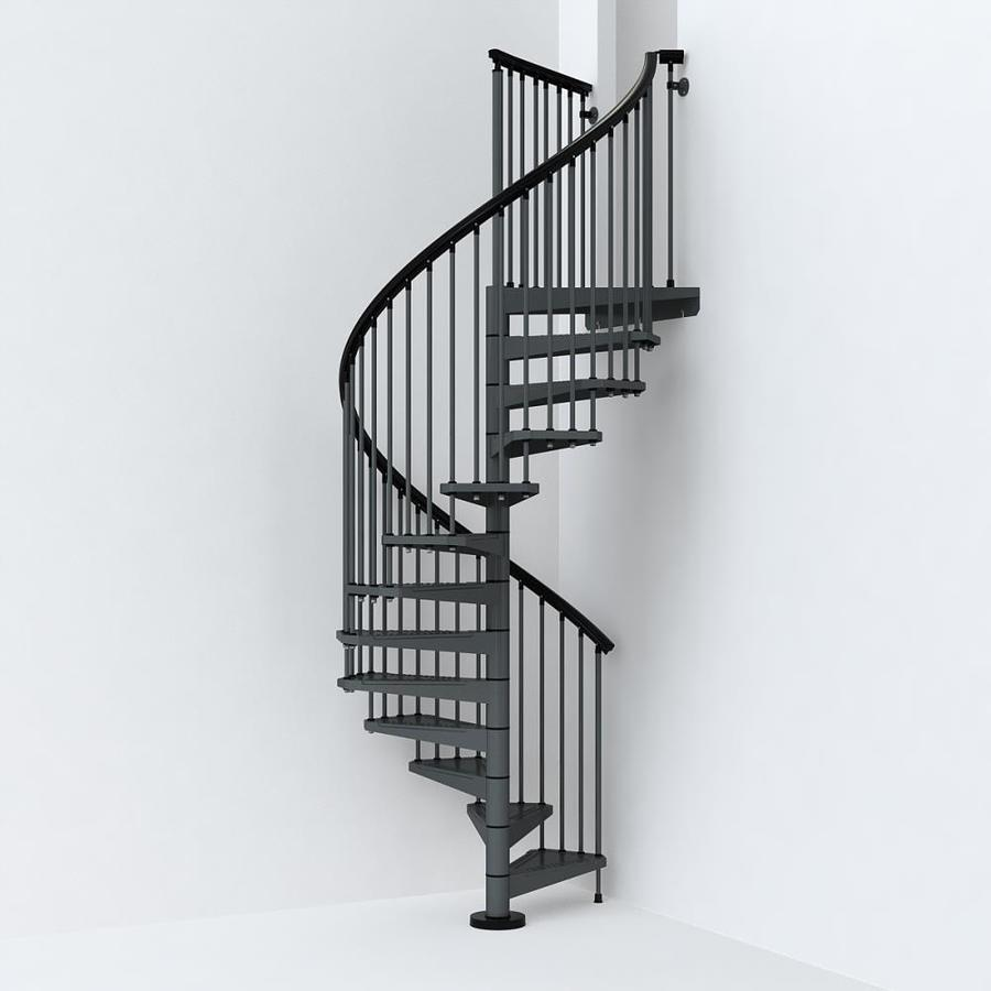 Arke Sky030 55 In X 10 Ft Iron Grey Spiral Staircase Kit