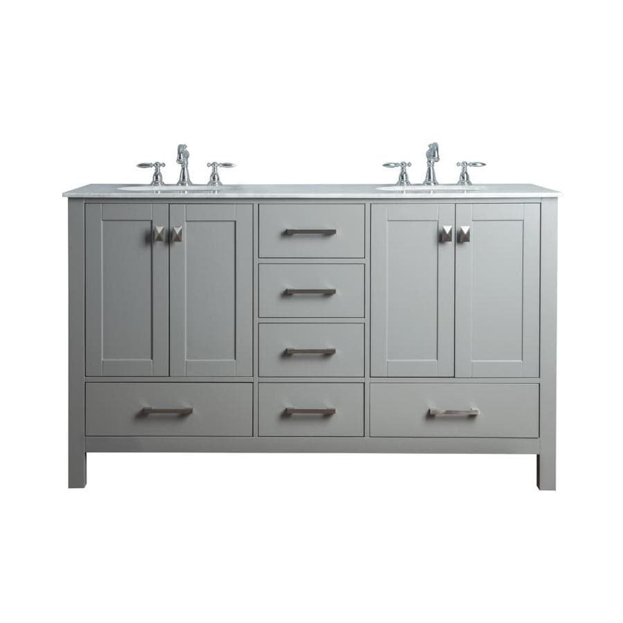 stufurhome 60 in gray undermount double sink bathroom vanity with carrara white natural marble top