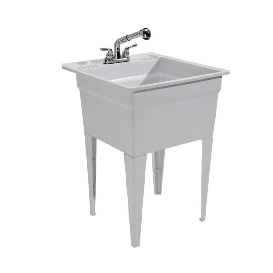 cashel 23 75 in x 24 75 in 1 basin granite freestanding laundry sink with drain and faucet