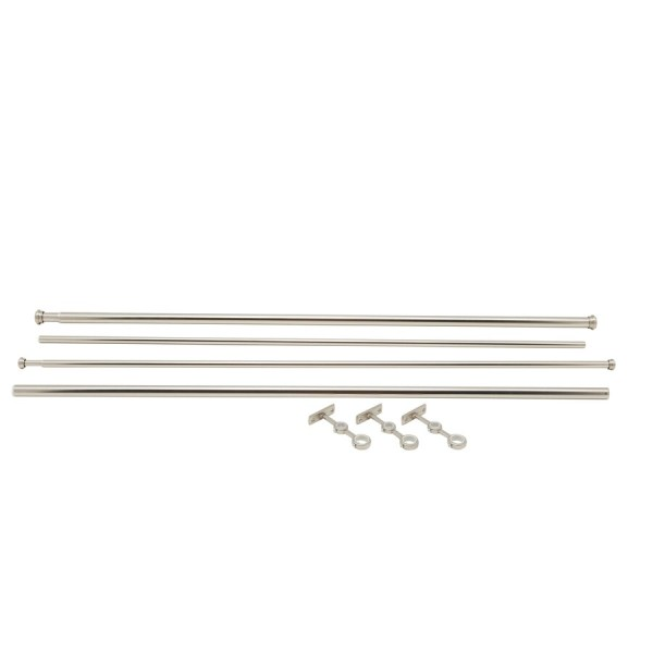 Allen Roth 72-in 144-in Brushed Nickel Steel Double Curtain Rod
