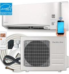 ductlessaire energy star 12000 btu 500 sq ft single ductless mini split air conditioner [ 900 x 900 Pixel ]
