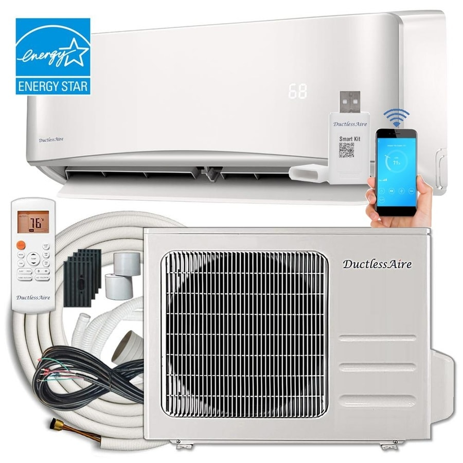 hight resolution of ductlessaire energy star 24000 btu 1000 sq ft single ductless mini split air conditioner with heater