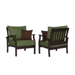 Patio Chairs At Lowes Vitra Lounge Chair Allen Roth Set Of 2 Eastfield Aluminum With Solid Green Cushions