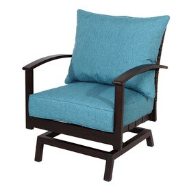 metal patio chair kitchen pads pottery barn chairs at lowes com allen roth atworth set of 2 aluminum conversation with peacock blue cushion
