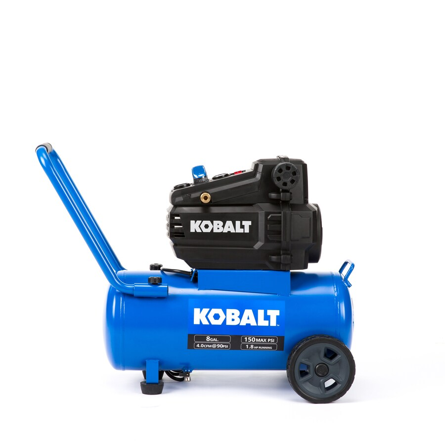 hight resolution of kobalt 8 gallon portable 150 electric horizontal air compressor