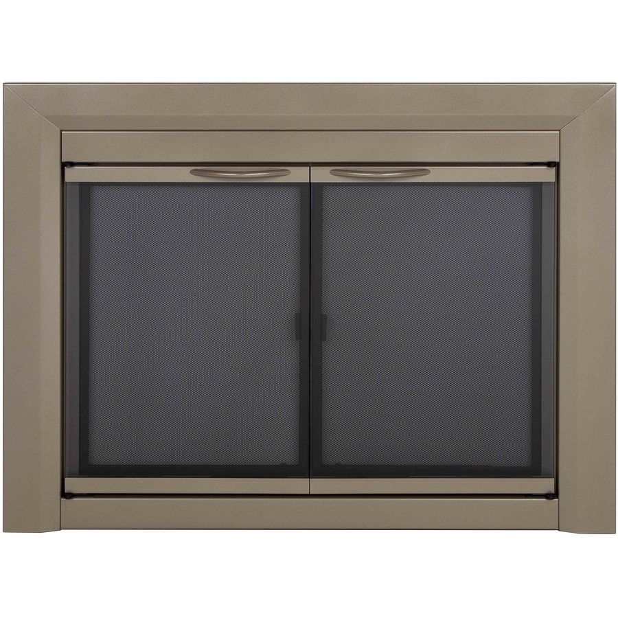 Pleasant Hearth Colby Sunlight Nickel Small CabinetStyle Fireplace Doors with Smoke Tempered