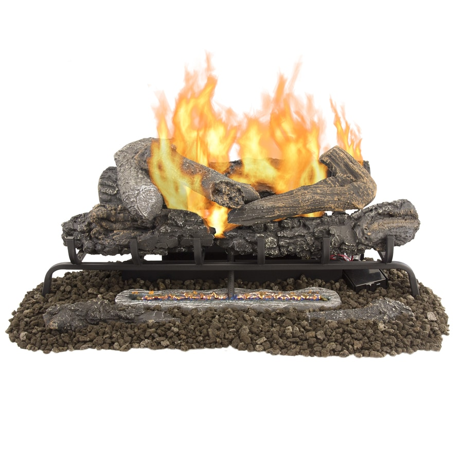 Pleasant Hearth 30in 33000BTU DualBurner Ventfree Gas Fireplace Logs with Thermostat and