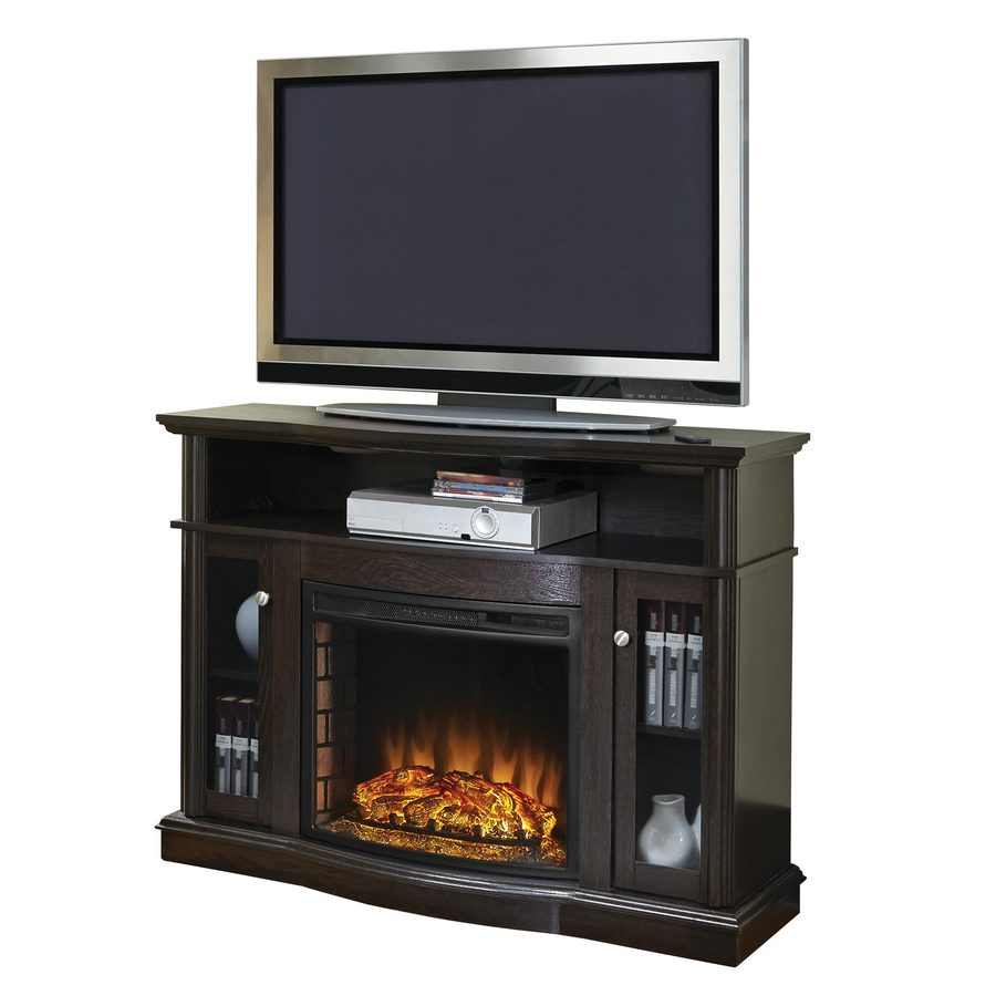 Shop Pleasant Hearth 4776in W 4600BTU Merlot Wood FanForced Electric Fireplace with