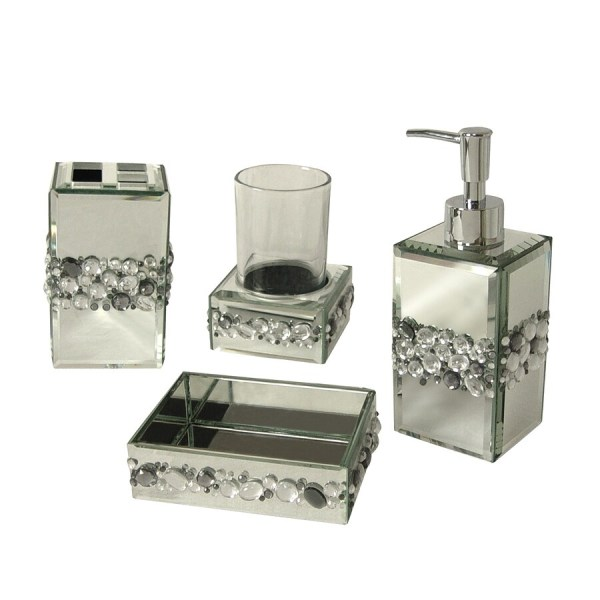 bling bathroom accessories sets Shop Elegant Home Fashions Bling 4 piece Bathroom Accessory Set at Lowes.com