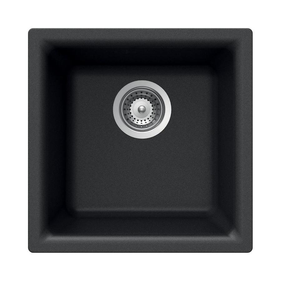 undermount kitchen sinks lowes cabinates shop houzer cristalite onyx granite drop-in or ...