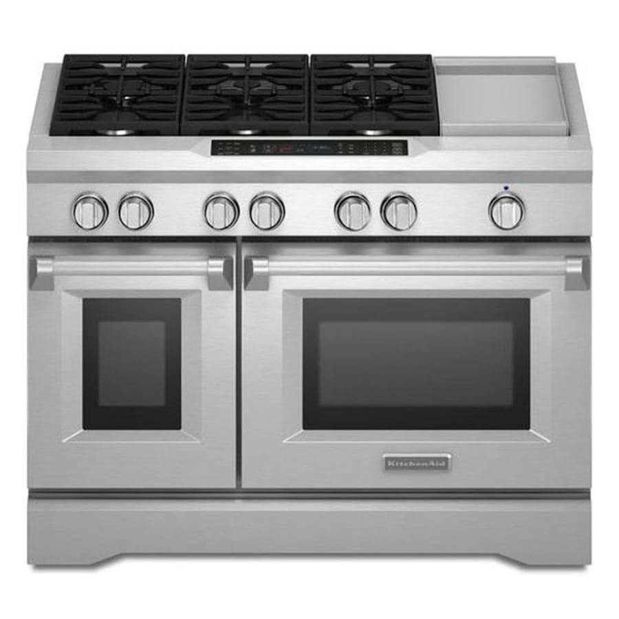 kitchen aid ovens kingston brass faucets kitchenaid 48 in 7 burner 4 1 cu ft 2 self cleaning double