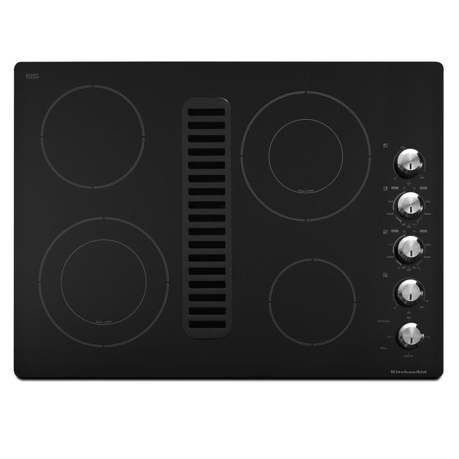 Shop KitchenAid Smooth Surface Electric Cooktop With Downdraft Exhaust Black Common 30 In