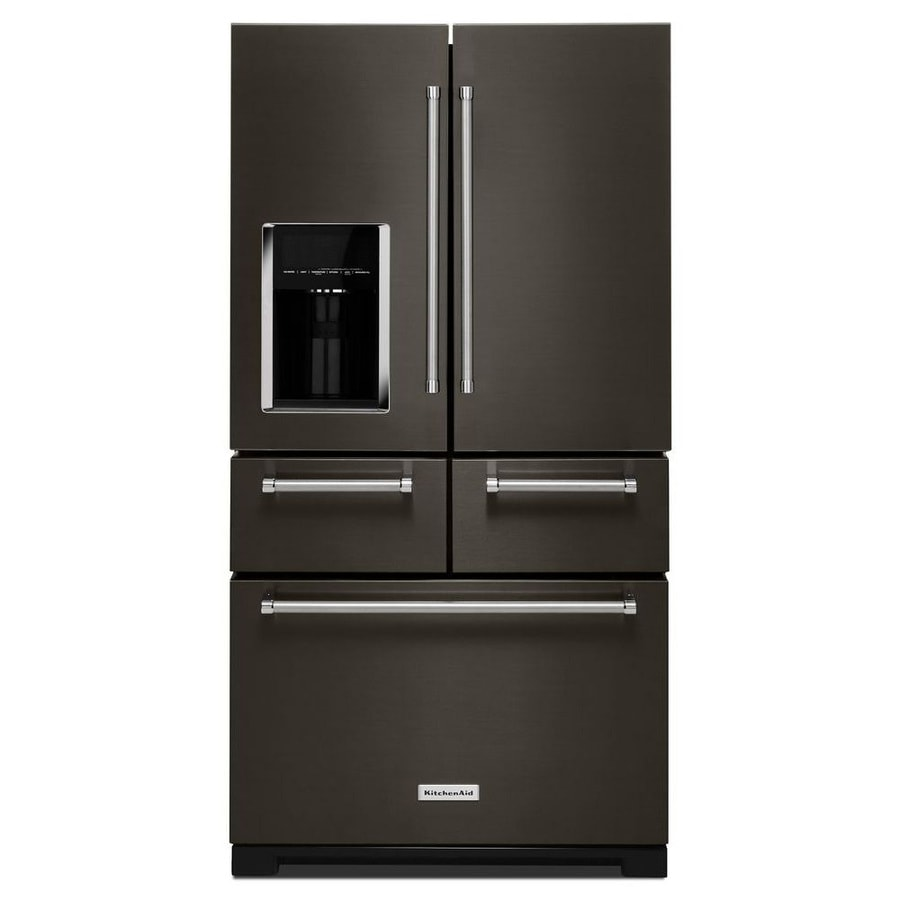 lowes kitchen aid sink black kitchenaid 25 8 cu ft 5 door french refrigerator with ice maker stainless steel