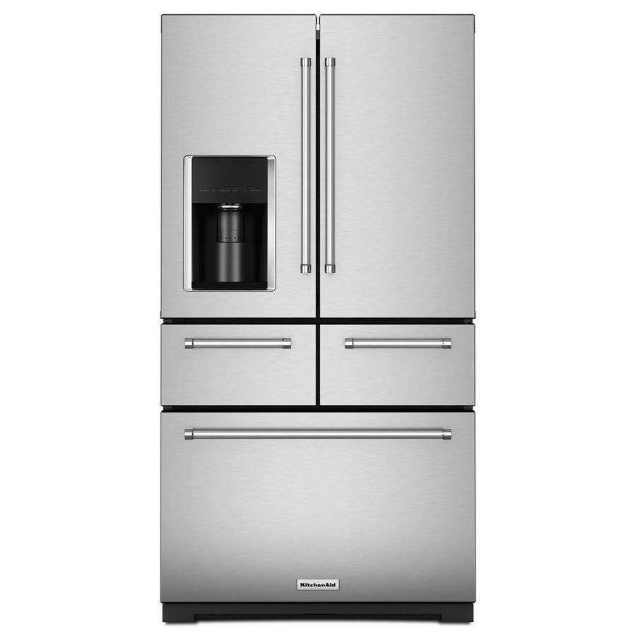 kitchen aid ice maker cabinets unfinished kitchenaid 25 8 cu ft 5 door french refrigerator with stainless steel