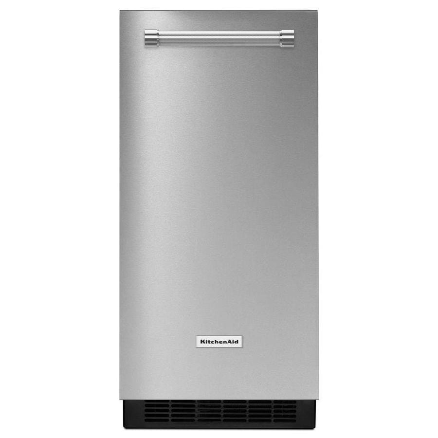 lowes kitchen aid beadboard island kitchenaid 50 lb reversible door freestanding built in ice maker stainless steel