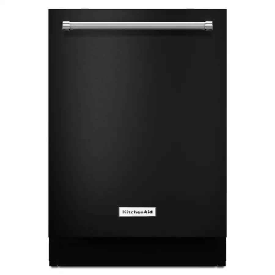 lowes kitchen aid copper door handles shop kitchenaid 46-decibel built-in dishwasher (black ...