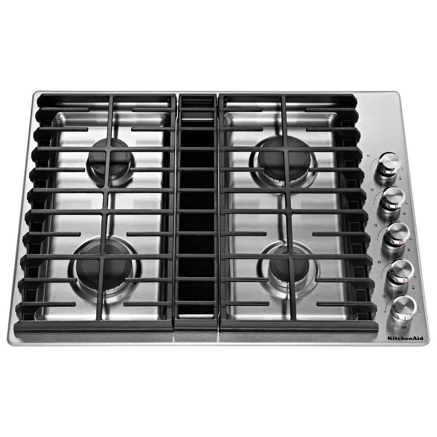 medium resolution of kitchenaid 30 in stainless steel gas cooktop with downdraft exhaust common 30 in actual 30 in