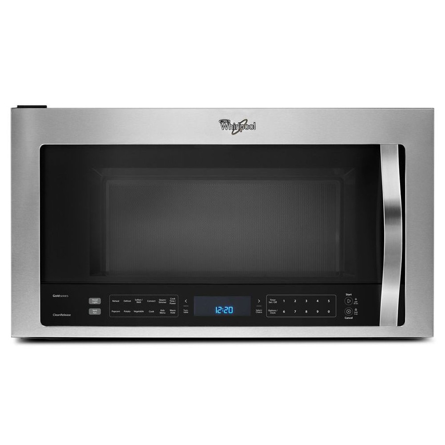 whirlpool 1 9 cu ft over the range convection microwave with sensor cooking stainless steel