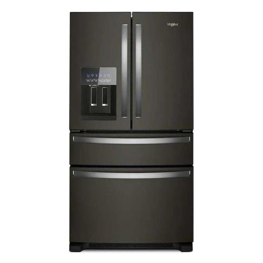 medium resolution of whirlpool 24 5 cu ft 4 door french door refrigerator with ice maker fingerprint resistant black stainless black stainless steel energy star