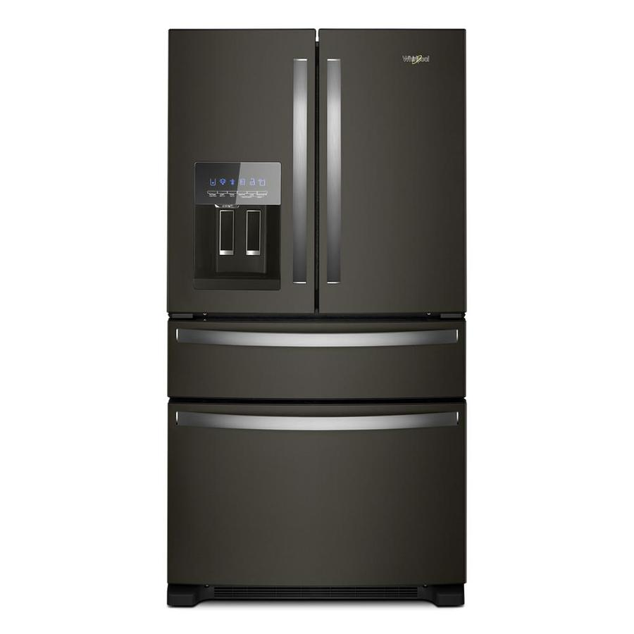 hight resolution of whirlpool 24 5 cu ft 4 door french door refrigerator with ice maker fingerprint resistant black stainless black stainless steel energy star