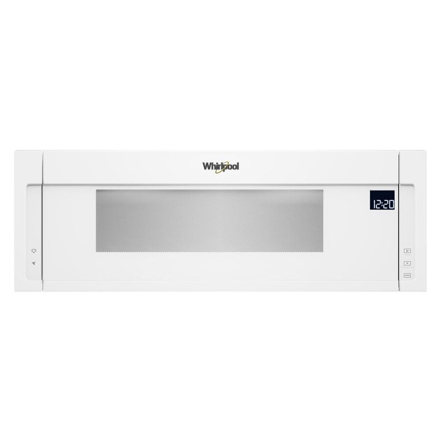 whirlpool 1 1 cu ft low profile over the range microwave with sensor cooking white lowes com