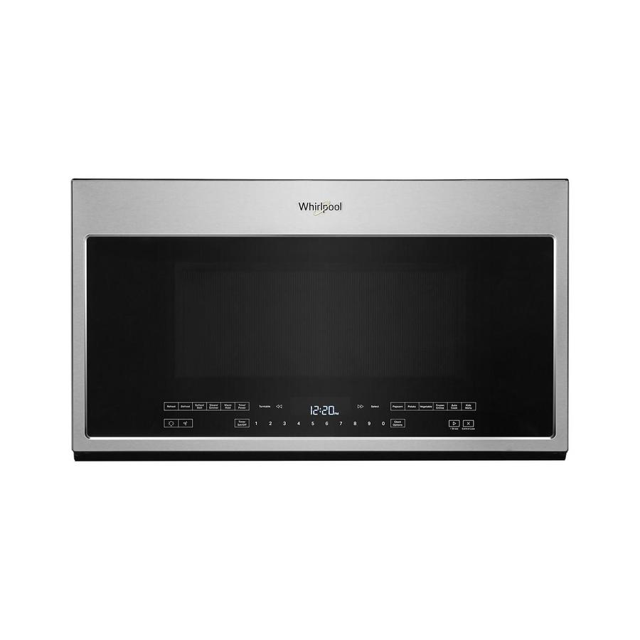 whirlpool 2 1 cu ft over the range microwave with steam cooking fingerprint resistant stainless steel lowes com