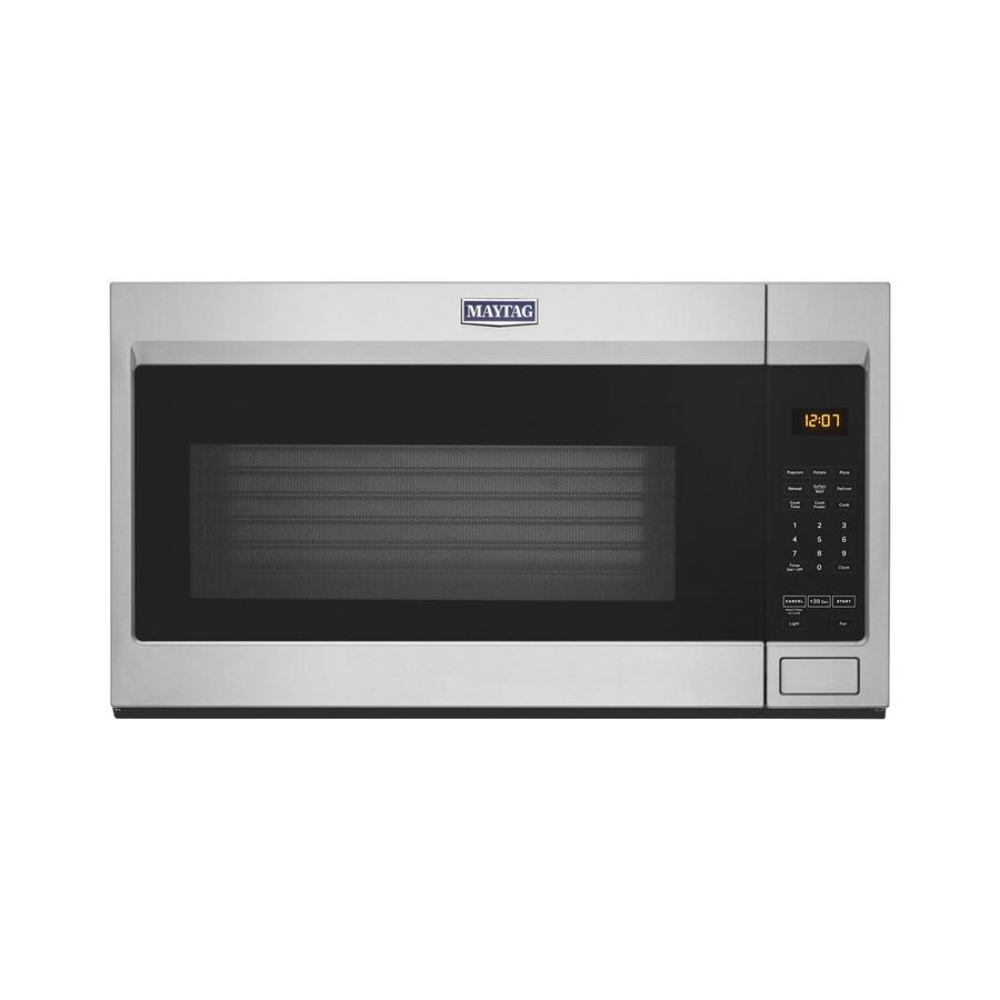 maytag 1 9 cu ft over the range microwave with stainless steel cavity fingerprint resistant stainless steel