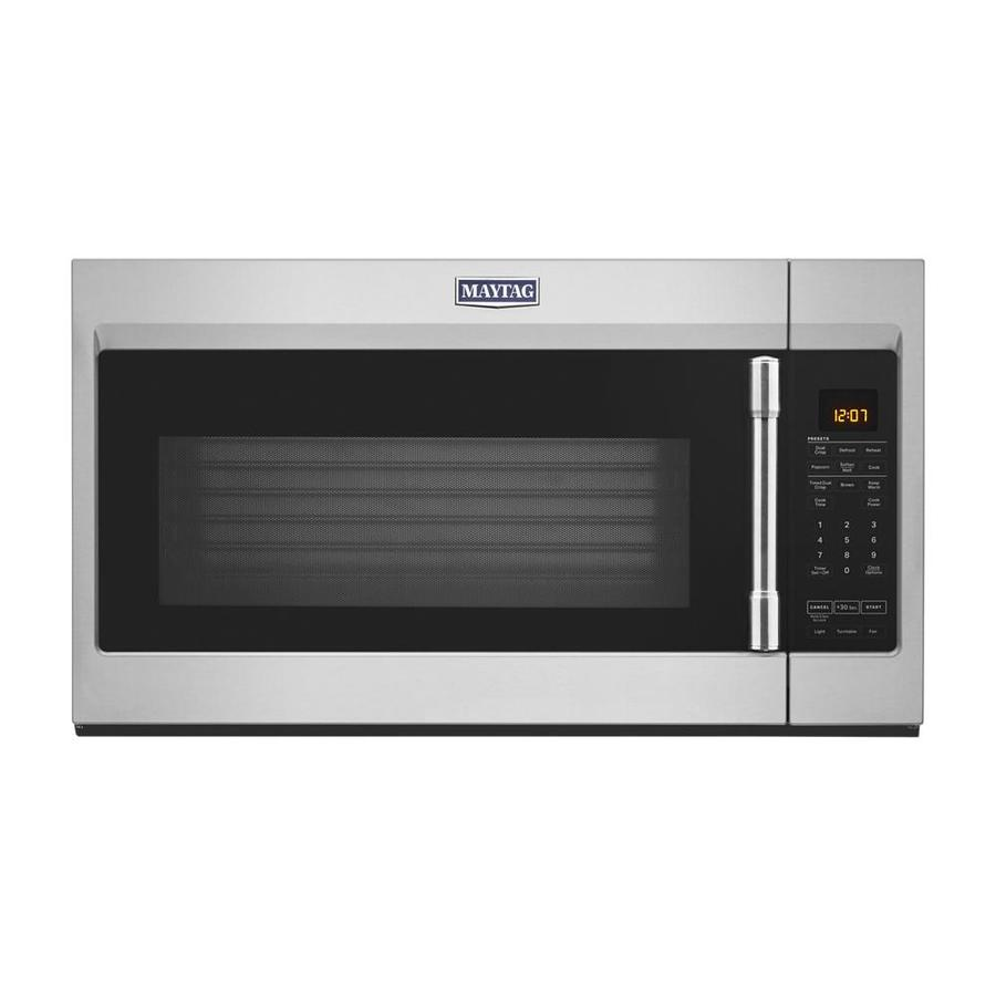 maytag 1 9 cu ft over the range microwave with dual crisp feature fingerprint resistant stainless steel lowes com