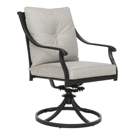 black patio chairs shower chair with wheels at lowes com garden treasures elliot creek set of 2 steel swivel rockerdining gray cushions